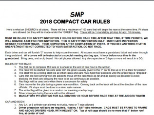 Compact Car Enduro Race Rules