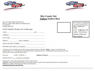 Fullsize Enduro Race Entry Form