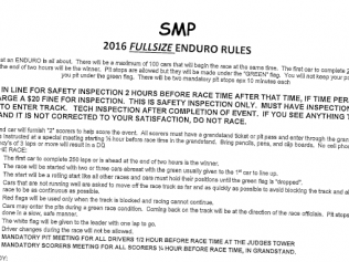 Fullsize Enduro Race Rules