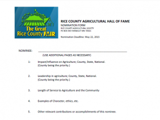 RC Agricultural Hall of Fame Nomination Form