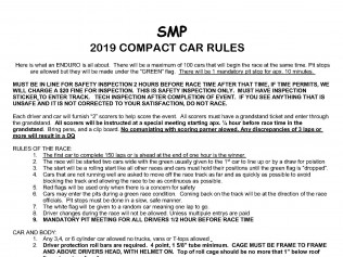 Compact CarEnduro Race Rules