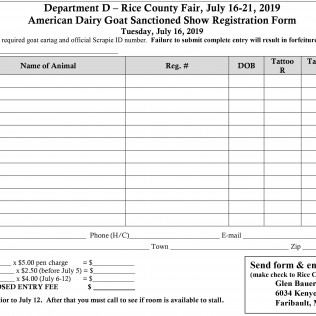 American Dairy Goat Sanctioned Show Registration Form
