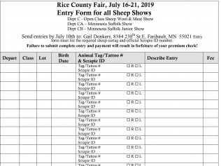 Rice County FairEntry Form forAll Sheep Shows