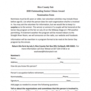 Outstanding Senior Citizen Award Nomination Form