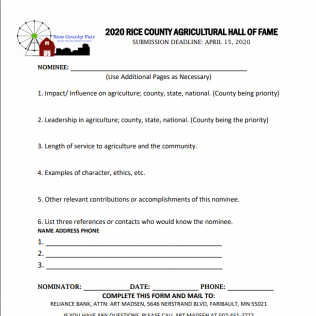 2020 Rice County Agricultural Hall Of Fame