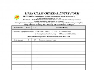 Open Class General Entry Form